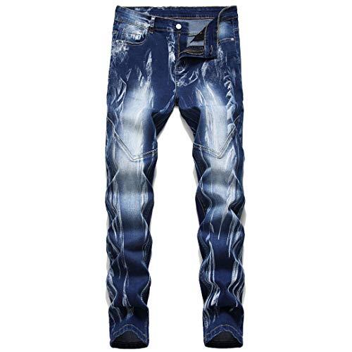 wlkeu Uomo Jeans Casual Micropiastre Jeans Sottili Pantaloni Maschio Denim dei Pantaloni Casuali più Il Formato 42 911 32