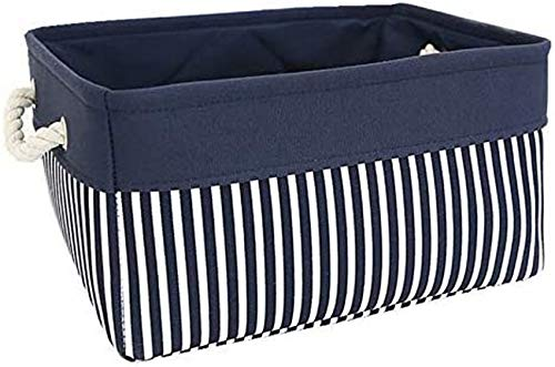 Fabric Nautical Basket for Storage,Collapsible Canvas Storage Bins Containers Organizing Basket for Gifts Empty,Shelves, Closet,Nursery Baby Room