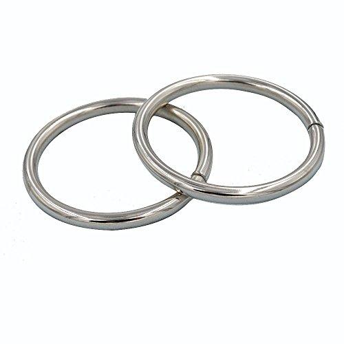 Anillas de metal redondas de Topind para bolsos y mochilas, anilla metálica soldada 50*5.0mm/ 8pcs plata
