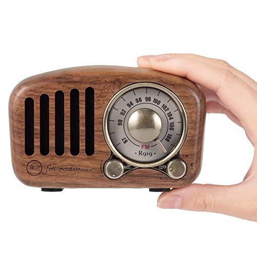 PRUNUS J-919 Klassisches Design Retro-Holz UKW FM SD MP3 Bluetooth Transistor Radio mit Lautsprecher, Unterstützt AUX-Funktion, 270° Großes Kompass Tuning Fenster. (Walnußholz)