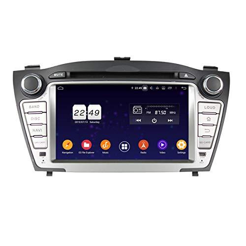 7 Zoll Touchscreen Android 9.0 Pie Autoradio für Hyundai IX35/Tucson(2009-2014), 4 GB RAM+32 GB ROM, DVD Player Bluetooth GPS Navigation DAB+ Radio Haupteinheit