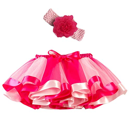 IMJONO Fille Tutu Jupe Danse Fille 2-11 Ans, Jupe Tutu Arc en Ciel Jupe Tulle Multicolore Jupe Vintage Ballet Fête Robe Costume Bandeau à Fleurs Mode Chic Élégant Vêtements (Rose,7-11 Ans