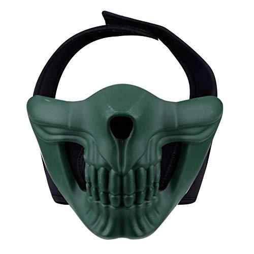 Linowi Airsoft Half Face Masken, Scary Smiling Ghost Skull Masken, Schutz für Paintball Cosplay Halloween Kostüm Party CS Spiel Hockey Motorrad