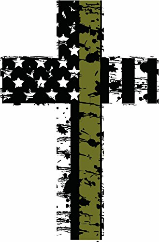 """Evan Decals Thin Olive Drab line Distressed American Flag Military Cross Reflective Decal Vinyl Sticker 4"""""""