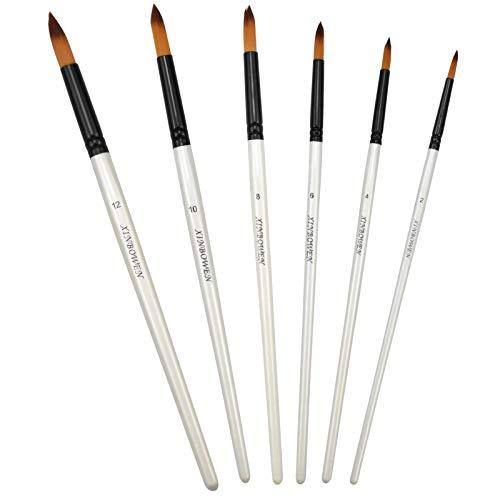 Conjunto de Pinceles Pintura Acrilica, 6 Piezas Pinceles Acuarela Profesional Pincel de Artista para Gouache, Pintura Acrílica, Acuarela