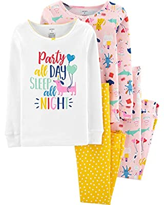 Carter's Girls 4-Piece Cotton Pajama (3T, Sleep All Night)