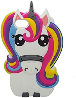 Rainbow Unicorn iPhone 7 7G Case,iPhone 8 Case, XINSIR Cute 3D Cartoon Horse Soft Silicone Case Rubber Back Cover Skin for Apple iPhone 7 & iPhone 8 4.7inch (White-Colorful)