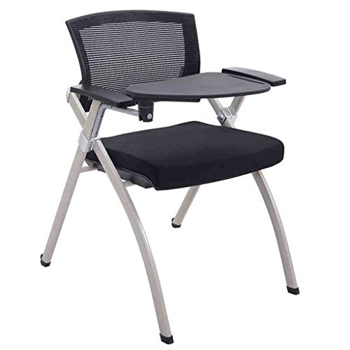 YSXFC ligstoelen opvouwbare bureaustoel met schrijfbord en leuning mesh rugleuning, duurzame lounge stoel stalen buis ademend