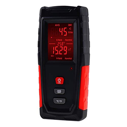 Digital EMF Tester Electric and Magnetic Field Radiation Detector Dosimeter Temperature Measure with Color-screen Display and Rechargeable Battery Handheld Tool