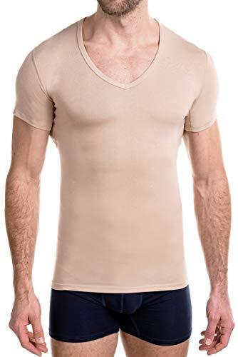 FINN Business Herren Funktions-Unterhemd - Atmungsaktives Unterziehshirt Männer mit Einsätzen Unsichtbare Hautfarbe Nude M