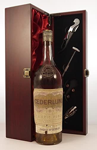 J Cederlund Caloric Punch 1960's Denmark en una caja de regalo forrada de seda con cuatro accesorios de vino, 1 x 750ml