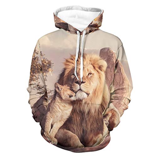 Lion King Men's Hooded Sweatshirt Outdoor Pullover with Pockets Soft Hoodie Gifts for Men and Women White 2XL