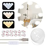 Luces de espejo de vanidad con 10 bombillas LED regulables, kit iluminado por USB con 3 modos de color y 10 niveles de brillo, espejo de maquillaje adhesivo para espejo de tocador, 10 bombillas/5,2 m