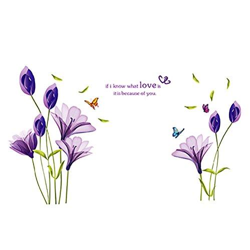 HuntGold DIY Amovible Romantique Fleur de Lys Violet PVC Autocollant Mural Décoration de Maison