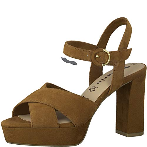 Tamaris Mujer Sandalias de Vestir 28083-34, señora Sandalia de la Plataforma,Zapatos de Verano,cómoda Suela,Suela Gruesa,Nut,40 EU / 6.5 UK