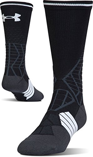 Under Armour Adult Football Crew Socks, 1-Pair, Black/White, Shoe Size: Mens 8-12, Womens 9-12