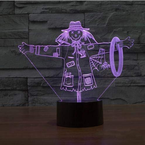 Mooie vogelverschrikker, 3D-lamp, meisjes, hoed, model illusie, 3D-lamp, 7 kleuren, usb-touch, decoratieve verlichting, leuk cadeau voor kinderen