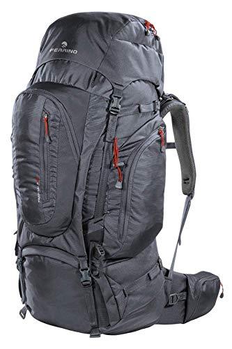 Sac à dos de randonnée Transalp 100 litres couleur gris foncé de marque Ferrino – Dos réglable en hauteur – Idéal pour randonnée, voyage, aventure
