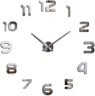 Reliable_E Modern Design 3D Large Mirrored DIY Wall Clock for Home Decor (Silver)