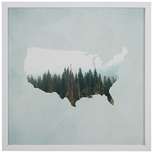 Rivet American Forest Map Print in White Wood Frame, ...