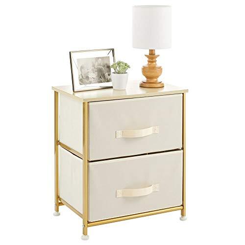 mDesign Mesita de noche con 2 cajones – Cómoda pequeña hecha de tela, metal y MDF – Decorativas cajoneras para armarios, para el dormitorio o el salón – crema/dorado latón