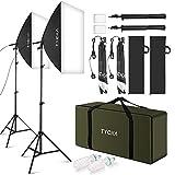 TYCKA Fotostudio Kit Softbox Dauerlicht Fotolampe Studioset mit Höhestellbare Lampenstativ Tageslicht Studioleuchten Kit 50 x70 cm 135W 2-Set für Fotostudio, Produktfotografie und Videoaufnahme