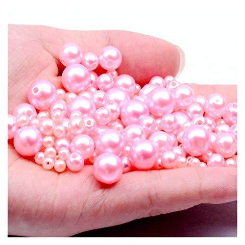 RWEAONT Luz Rosa 3-12 mm Holores Rectos Imitación Redonda Perlas de Perlas de plástico para Accesorios de joyería Beads & Jewelry Fabricación (Size : 6mm 5000pcs)