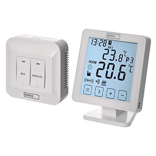 EMOS P5623 WiFi Raumthermostat/programmierbarer Smart Thermostat für Heizung, Heizungssysteme, Wasserheizung und Kühlungssysteme/Raumtemperaturregler mit App Steuerung iOS/Android, Weiß