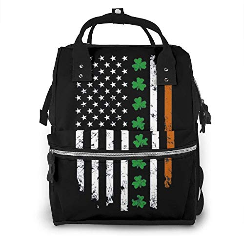 Diaper Bag Backpack Travel Bag Large Multifunction Waterproof Irish American USA Flag Stylish and Durable Nappy Bag for Baby Care School Backpack