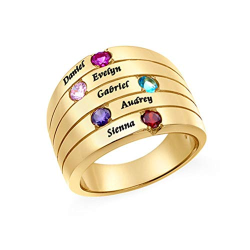 Yanday Personalisierte anpassbare Namen Intarsien Birthstone Ring Mode Herren & Damen Ringe(18 Karat (750) Gelbgold 61 (19.4))