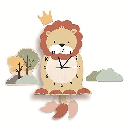 Kinder Uhr ohne Tickgeräusche, Kinderuhr für Kinderzimmer, Lautlos Uhrwerk, Wanduhr Wolken, Wanddeko Deko Jungs Mädchen (Löwe)