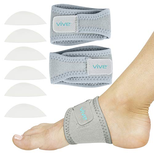 Vive Arch Support Brace (Pair) - Plantar Fasciitis Gel Strap for Men, Woman - Orthotic Compression Support Wrap Aids Foot Pain, High Arches, Flat Feet, Heel Fatigue - Insert for Under Socks (Gray)