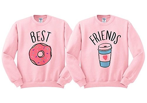 Best Friends Donut Coffee Duo Sweatshirt Unisex Pink