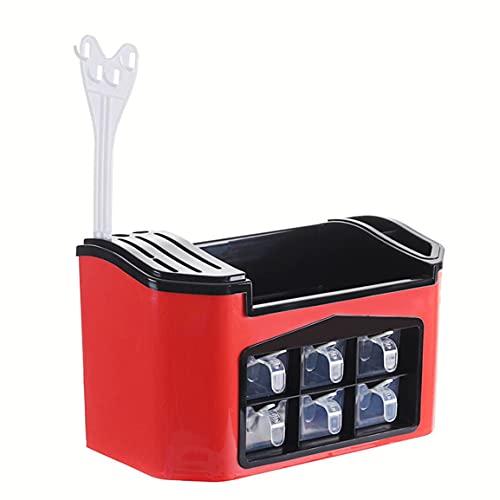 MOHAN88 Estante de Cocina Multifuncional Elegante Estante de Cocina multifunción Caja de condimentos Estante de Almacenamiento de Botellas de condimentos - Rojo