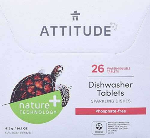 ATTITUDE Dishwasher Tablets, Natural, Phosphate-free, Unscented, 26 Count