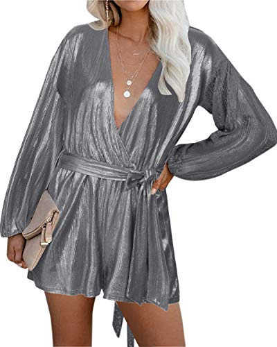 YOINS Rompers for Women Casual V Neck Long Sleeves Jumpsuits Playsuits Bandage Waist Sequins Casual Romper Longsleeve-Grey XL