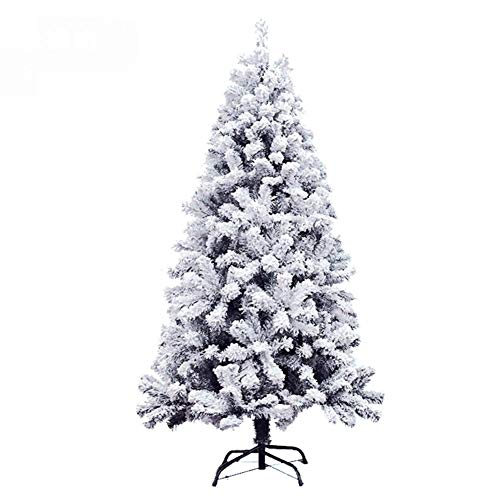 AISHANG 4 5 6 7 8 10 Ft PVC Flocked Artificial Christmas Tree Hinged, Full Unlit Snow Effect Xmas Tree Metal Stand Easy Assembly Without Ornaments-300cm(10ft)