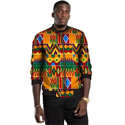 ELISCO Men's Outdoor Jacket African Print Casual Jacket Dashiki for Men Festivel Clothing (2,L)