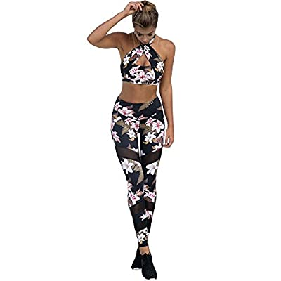 Clearance Sale! Charberry Womens Flower Print Mesh Stitching Yoga Pants Sports Leggings Athletic Trouser (US-6 /CN-M) from Charberry