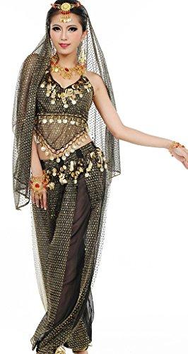 Astage Damen Bauchtanz Kostüme Set Indischer Tanz Darbietungen Kleidung, Schwarz, Fits DE 32-40