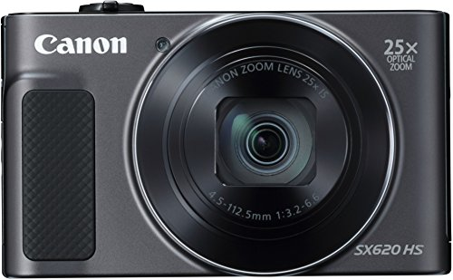 Canon PowerShot SX620 HS Digitalkamera (20,2 MP, 25-fach optischer Zoom, 50-fach ZoomPlus, 7,5cm (3 Zoll) Display, CMOS-Sensor; DIGIC4+, optischer Bildstabilisator, WLAN, NFC, HDMI) Kamera schwarz