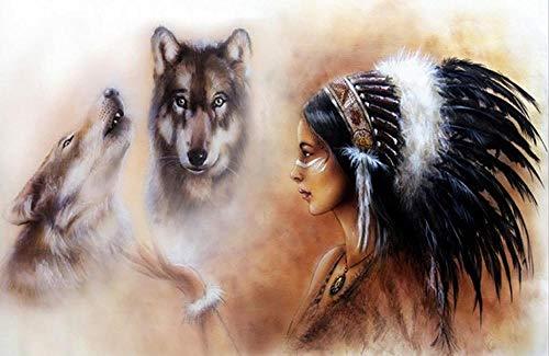 NOBRAND Animales del Lobo con la Muchacha India nativa Lienzos emplumados Carteles e Impresiones Cuadro nórdico de la Pared para la Sala de Estar 40x60cm Sin Marco