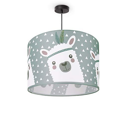 Kinderlampe Deckenlampe LED Pendelleuchte Kinderzimmer Lampe Lama-Motiv, E27, Lampenschirm:Grau (Ø45.5 cm), Lampentyp:Pendelleuchte Schwarz
