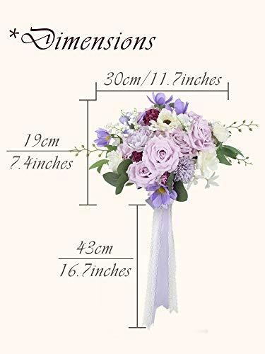 Rinlong Wedding Bouquets for Bride Purple Bridal Bouquet of Flowers for Wedding Artificial Flowers Silk Rose Propose Proposal Tossing Bouquets Wedding Ceremony Bridal Shower Party Proposal Decoration… Silk Flower Arrangements
