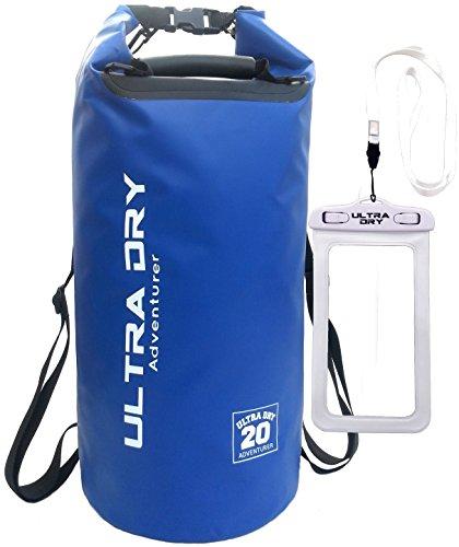 Bolsa impermeable de alta calidad, bolsa con bolsa seca para teléfono y correa de hombro ajustable larga, perfecta para kayak/barco/canoa/pesca/rafting/nadar/acampar/snowboard (azul, 5 L)
