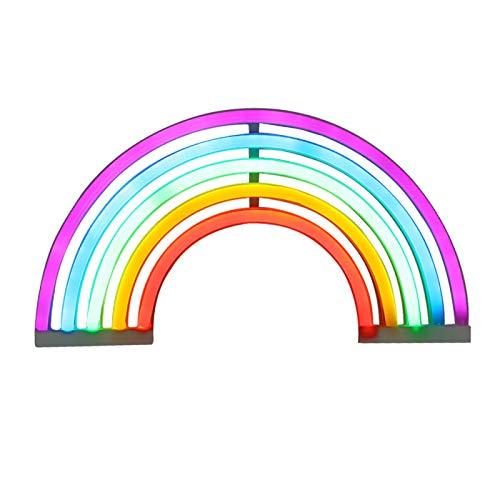 Lámpara LED de neón con diseño de arco iris, lámpara decorativa para sala de estar o dormitorio