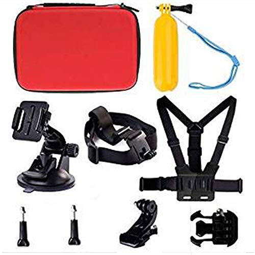Navitech 9 in 1 Action Camera Accessory Combo Kit and Rugged Red Storage Case Compatible with The Excelvan Q8EZVIZ S1 Action Camera | Fantec BeastVision HDFMAIS Full HD 1080P