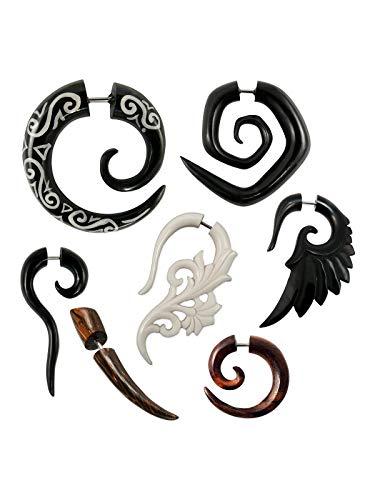 Fly Style - 1 Stück - Verschiedene Modelle Fake Plug Spirale Piercings aus Holz, Horn oder Knochen, Modell:Sonoholz-Spirale