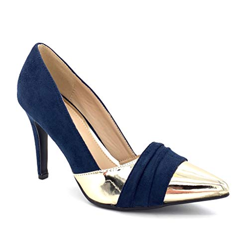 Angkorly - Damen Schuhe Pumpe - Stiletto - Sexy - bi-Material - golden Stiletto high Heel 10 cm - Blau C61-02 T 37