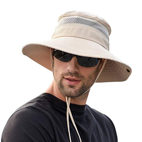 Men Women Sunscreen Cooling Hat Ice Cap Heatstroke Protection Cooling Cap Wide Brim Sun Hat with UV Protection Beige